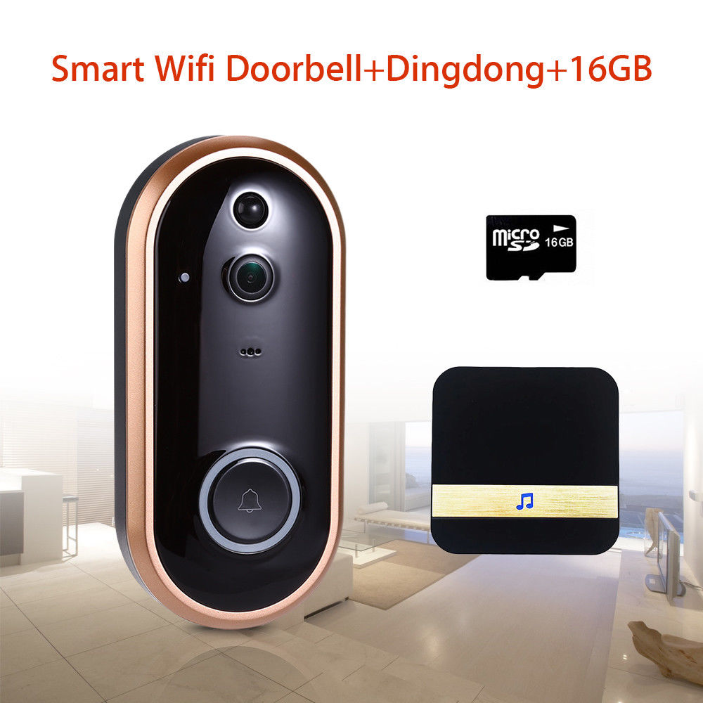 HD 1080P Wireless Doorbell Intercom Camera Motion Detection 166 Degree Ring +Dingdong Chime+16GB TF CARD