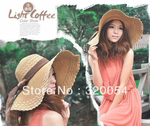 1 шт., 2013 летом греться на солнце шляпе, женский большой бантом вдоль соломенной шляпе, открытый велоспорт sunbonnet, больше цвета, бесплатная доставка