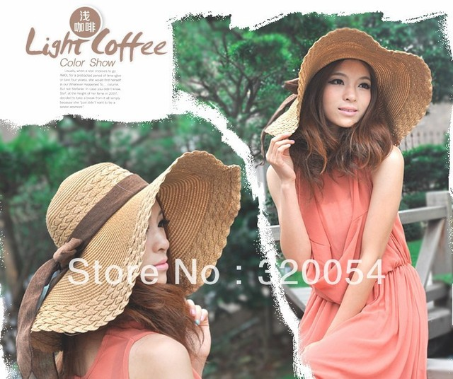1pcs,2013 summer bask in sun hat, female big bowknot along the straw hat, outdoor cycling sunbonnet, more color, free shipping