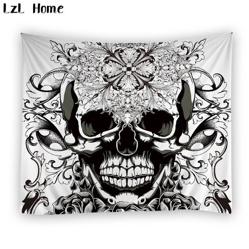 LzL Home 1 PS polyester skull tree earphone wineglass tapestry rectangle jacquard 3d gobelin tapestry wall hanging beach <font><b>towels</b></font>