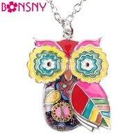 Bonsny Maxi Statement Metal Alloy Enamel Jewelry OWL Necklace Chain Collar Choker Pendant 2016 Fashion New