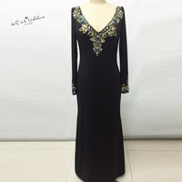 Sexy Elegant Gold Crystals Long Sleeve Prom Dresses 2015 White Black Mermaid Evening Gowns Backless Vestidos
