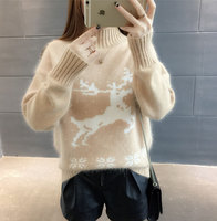 P Ammy Christmas Deer Turtleneck Sweater Ladies Autumn Winter Long Sleeve Knitted Pullover Casual Loose knitting Thicken Tops