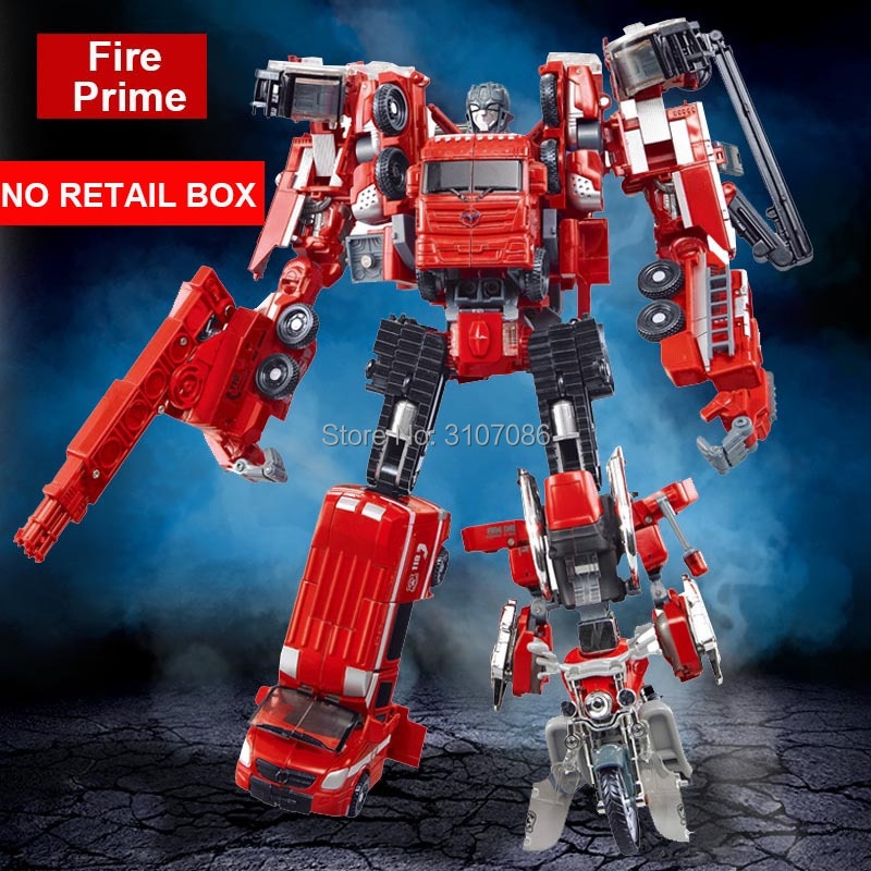 WJ Fire Prime 5 IN 1 Transformation Motorcycle Extinguishing Crane Truck Ambulance Truck Engineering Action Figure