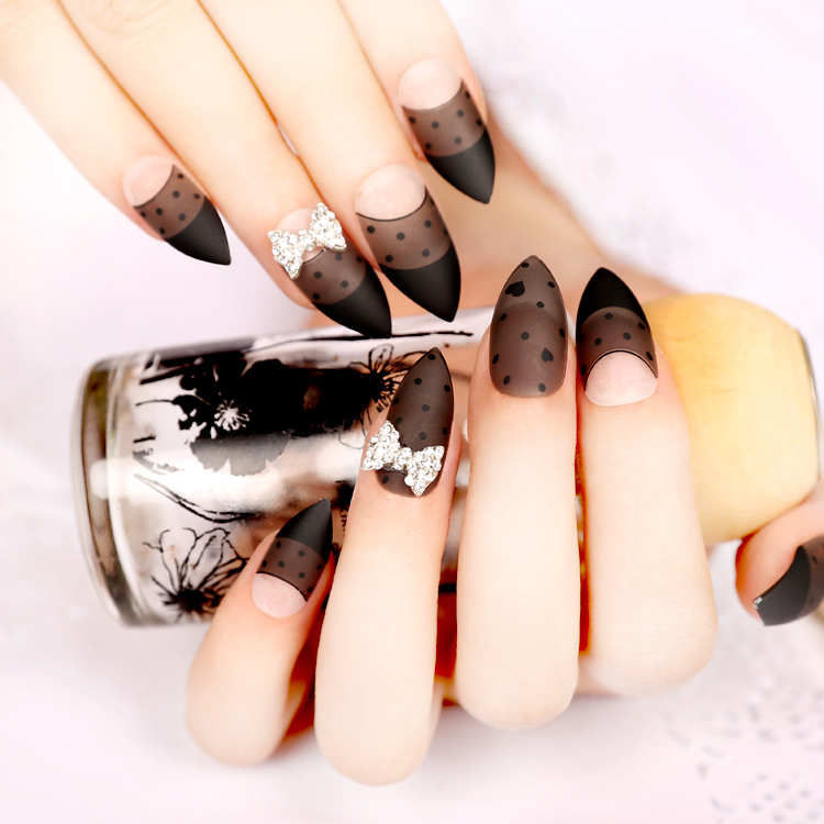Matte Surface False Nails Tips Clear Black Acrylic Fake Nails Large ...