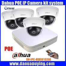 Dahua 4CH NVR4108-P Video Surveillance System with 4pcs DH-IPC-HDBW1320E IP Camera 3.0MP HD 1080P Dome PoE camera free shipping