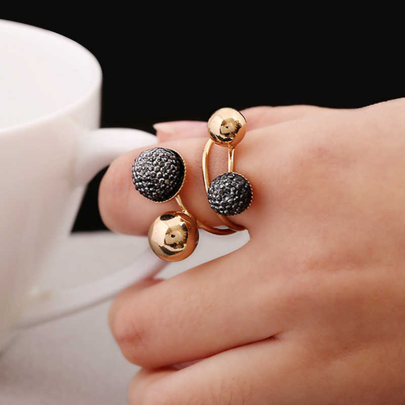 Silver and Gold-Color Korean Elegant Women Lovely Girls Adjustable Opening Rings with Metal Double Beads