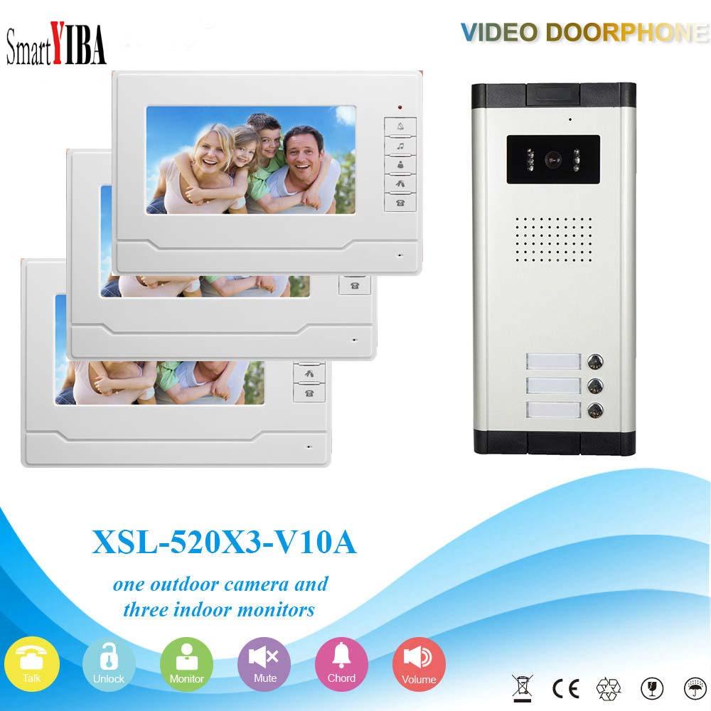 SmartYIBA Video Intercom 7''Inch Wired Color Video Door Phone Video Doorbell Phone Intercom System Kit 3 monitors+1 IR camera цены онлайн