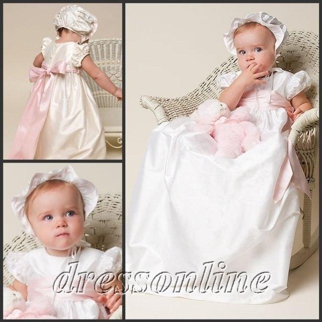 Envío gratis tafetán marfil vestido del bautizo del lazo rosa con ...