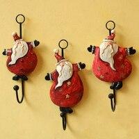 Free Shipping 3pcsDancing Santa Claus Wall Hook Resin Cloth Hook Wall Hanger Christmas Decoration Christmas Man