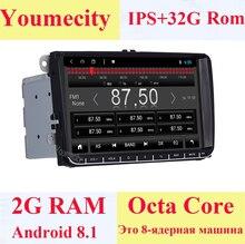 Lecteur DVD vidéo Gps de voiture Youmecity Android 8.1 pour VW Volkswagen Transporter T5 EOS Touran Scirocco Sharan Bora Jetta unité de tête