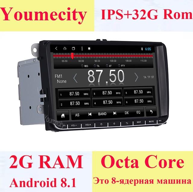 Youmecity Android 8.1 Car DVD player Vídeo Gps para VW Volkswagen Transporter T5 EOS Scirocco Sharan Touran Bora Jetta Cabeça unidade