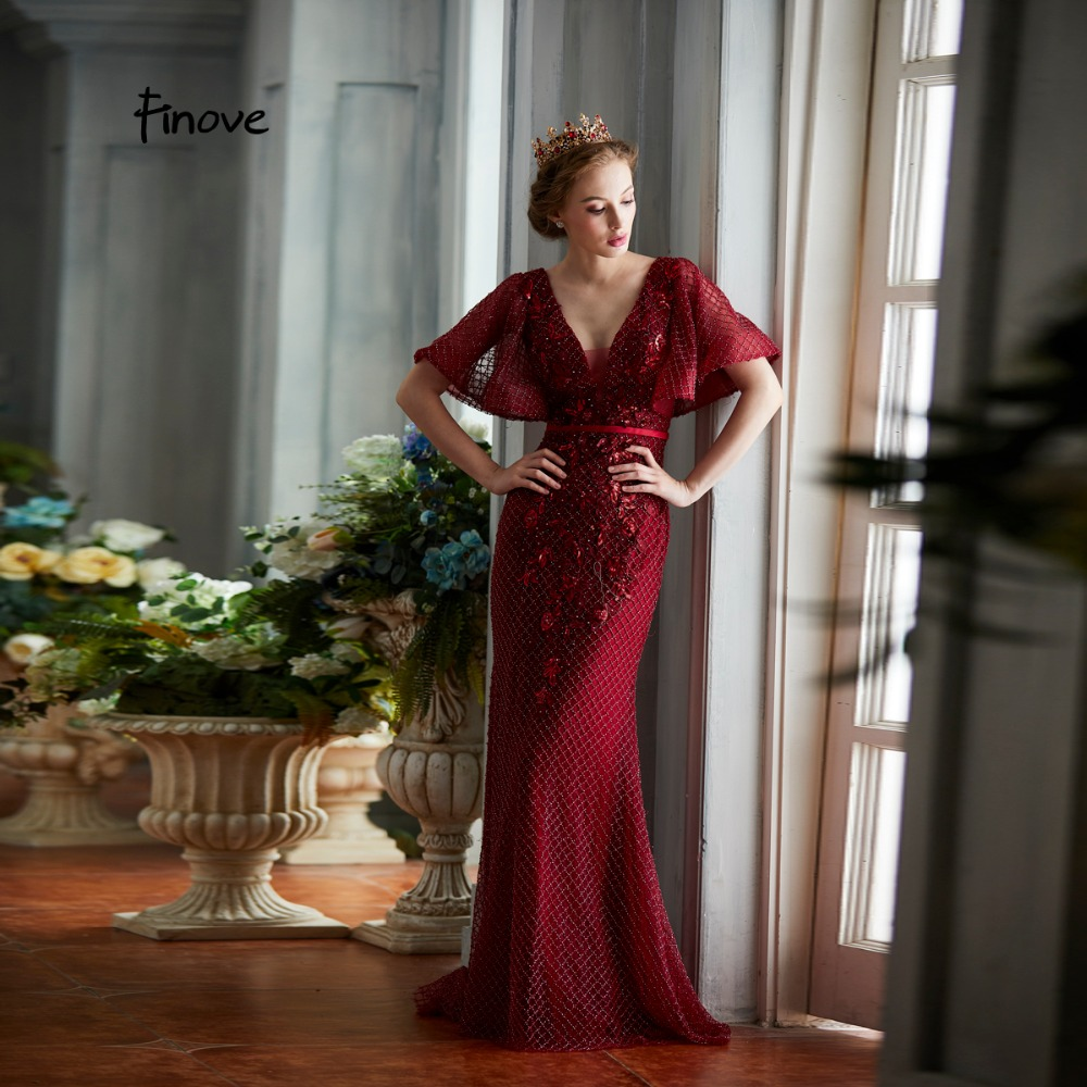 Finove New Design 2019 Evening Dress Long Floor Length Burgundy Sexy Deep V Neck Backless Embroidery