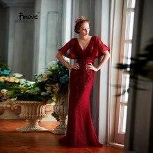 Finove дизайн вечернее платье длинной длиной в Пол, бордовое сексуальное женское платье с глубоким v-образным вырезом без спинки с вышивкой размера плюс