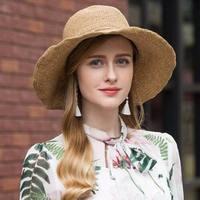 Hot Sale Round Top Raffia Wide Brim Straw Hats Summer Sun Hats for Women With Leisure Beach Hats Lady Flat Gorras
