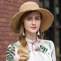 Hot Sale Round Top Raffia Wide Brim Straw Hats Summer Sun Hats for Women With Leisure Beach Hats Lady Flat Gorras