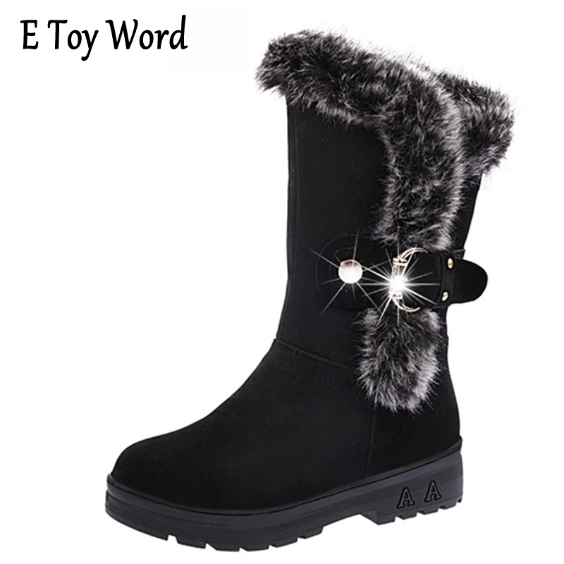 E TOY WORD Women Boots 2017 Snow Boots High Heels Shoes Woman botas mujer Women Winter Boots Wedges Martin Boots Shoes Woman e toy word boots women fashion autumn martin boots warm women shoes ankle boots for women winter botas mujer wedges ankle boots