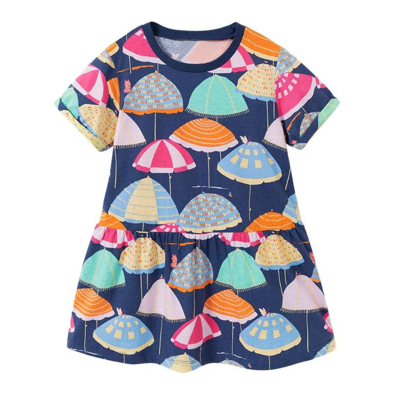 Summer Casual Cute Umbrellas Print Girls Kid Dresses Party 100% Cotton O-Neck Splicing Casual Short Sleeve Clothes