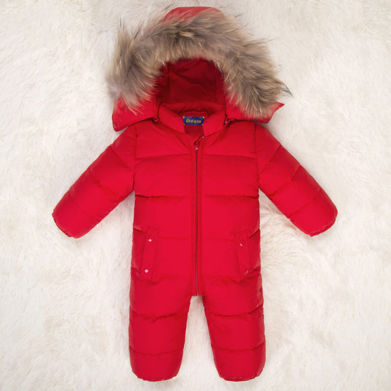 Newborn Baby Snowsuit Natural Fur Hooded Infant Boys Girls Down Jackets Snow Wear White Duck Down
