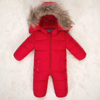 Newborn Baby Snowsuit Natural Fur Hooded Infant Boys Girls Down Jackets Snow Wear White Duck Down Winter Outwear Jumpsuits Z141