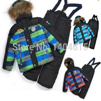 RT 113 Free Shipping Retail 2017 New Children Winter Thicking Ski Sets Boys Top Quality Windproof