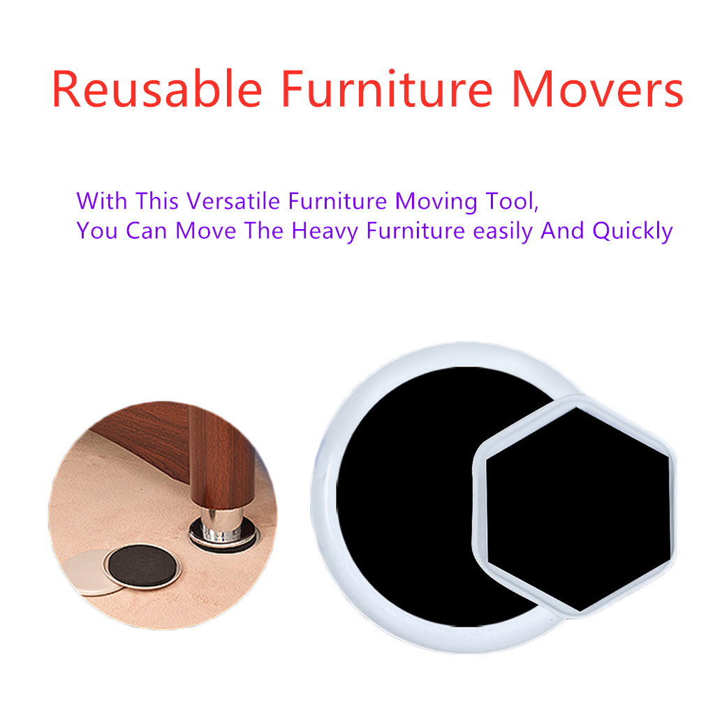 4PC Reusable Furniture Movers For All Floor Types Move Heavy Furniture Quickly Protectors House Helper Easy Moving Accessories