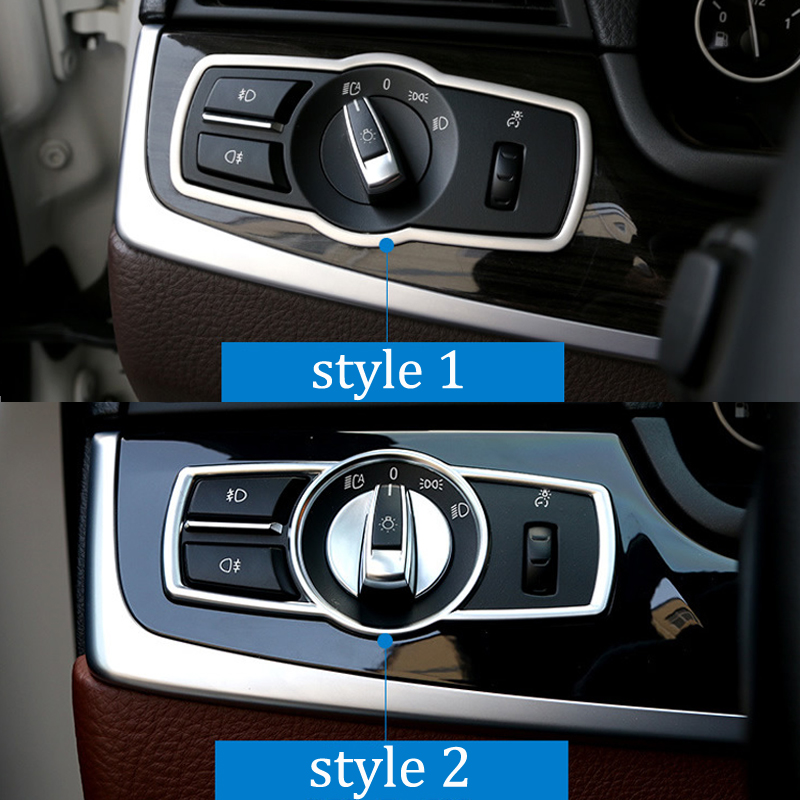 For BMW 5 Series X3 X4 F10 F25 F26 Car Headlight Switch Frame Cover Stickers Internal Decoration Auto Accessories Car-styling new auto parts for bmw 5 series x3 f10 f18 stop switch handbrake switch automatic start and stop parking brake