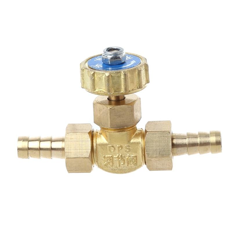 Elbow Brass Needle Valve 10mm Propane Butane Gas Adjuster Barbed Spigots