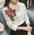 Free Shipping Korean Hot Sale Fashion Peter Pan Collar Long Sleeve Flower Embroidery Lace Hollow-out Woman Blouse White