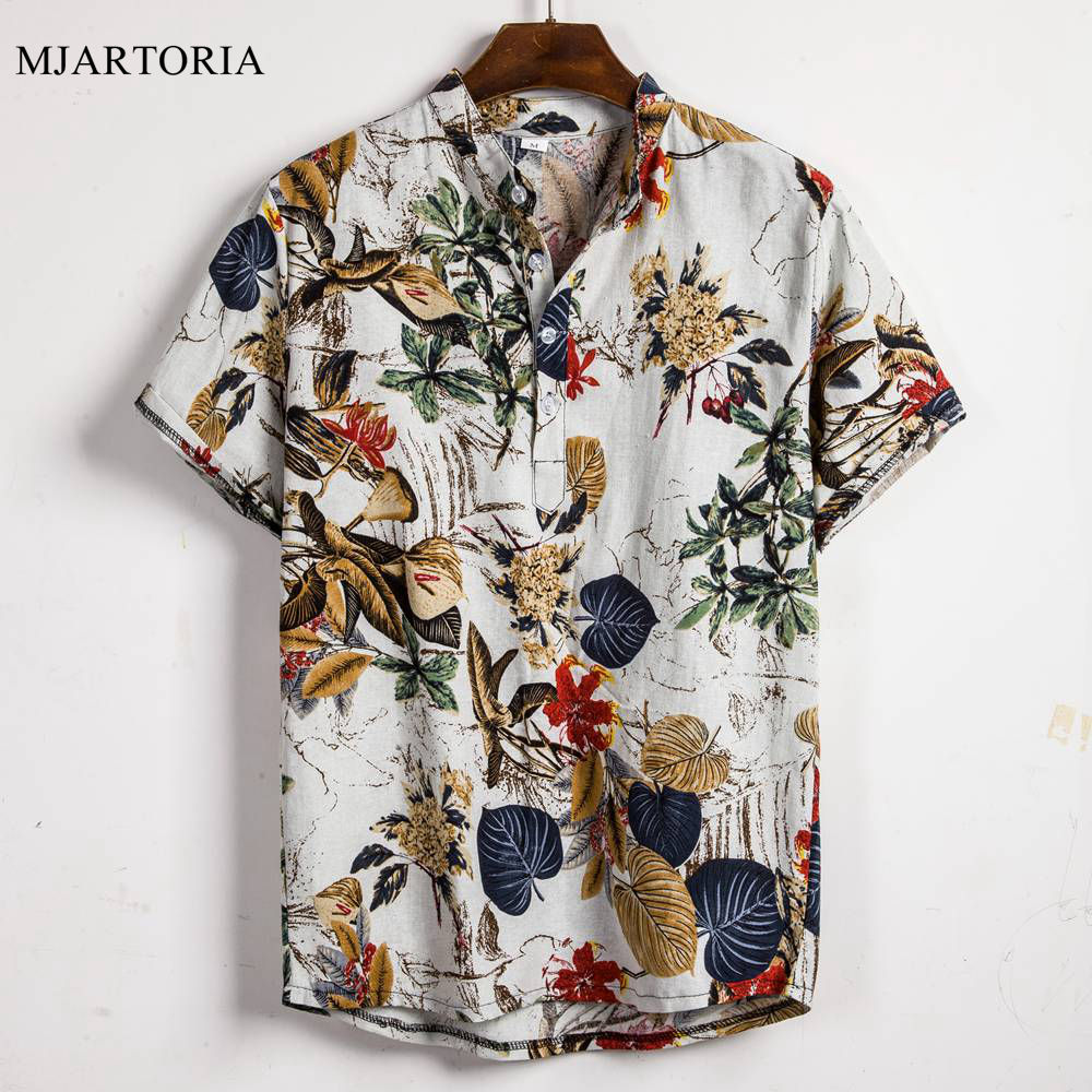 Man Shirt Short-Sleeve Stand-Collar Ethnic-Printed Loose Hawaiian Cotton Linen Henley