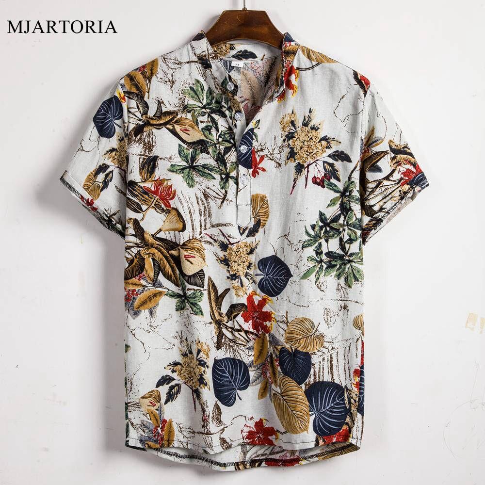 Summer Man Shirt Mens Ethnic Printed Stand Collar Cotton Linen Stripe Short Sleeve Loose Hawaiian Henley Shirt hawaiian shirt(China)