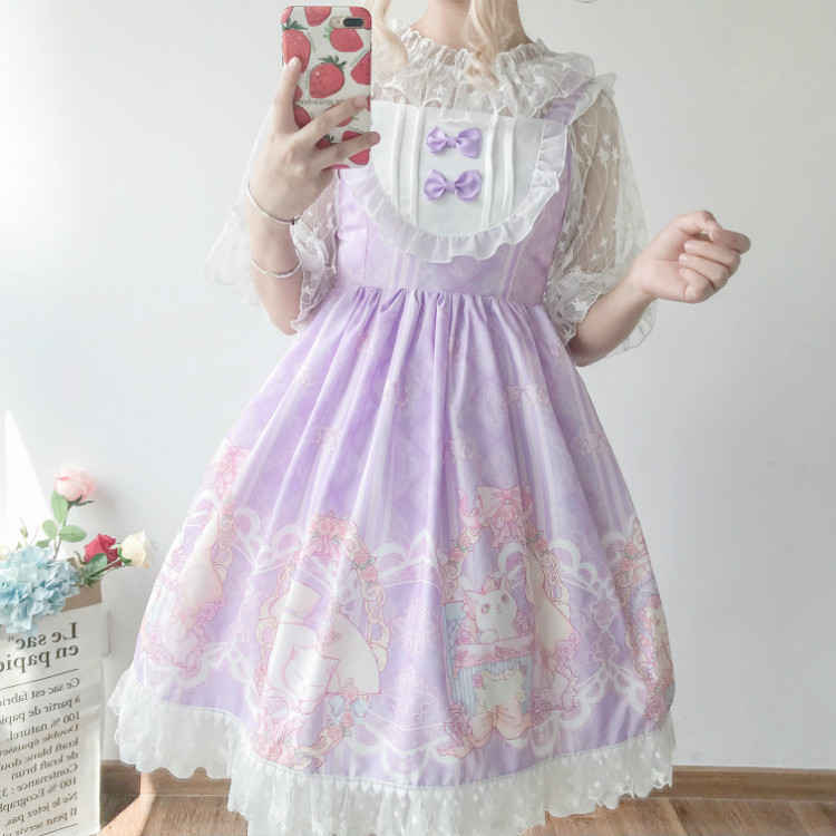 Kawaii Japanese Lolita Jsk Dress Women Summer Soft Sister Wind Cute Bow Cat Lolita Strap Sweet Dress Cute