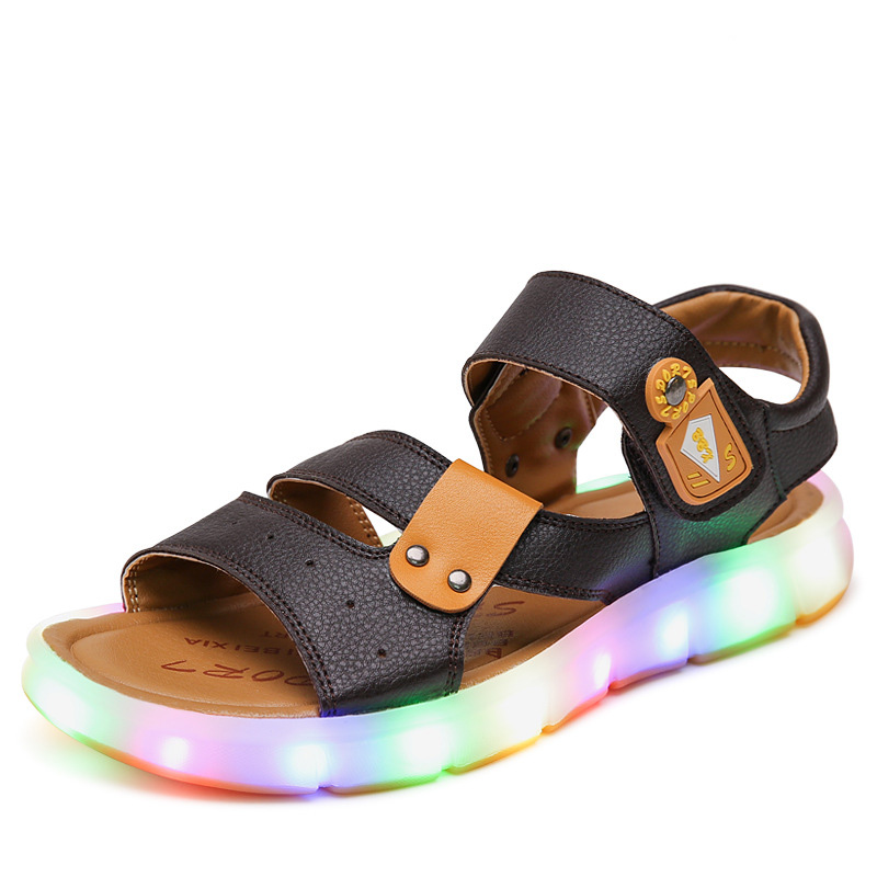 b3a9c7834e18 Boys Glowing Sandals LED light Kids Boy Children Shoes Tollder Baby Boys  Beach Sandal Soft Sole -in Sandals from Mother   Kids on Aliexpress.com