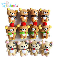 Wholesale 12pcs/Lot Rilakkuma Bear Stuffed Animal Doll 10cm Small Pendant Figure Doll Bag Pendant Charm TOY