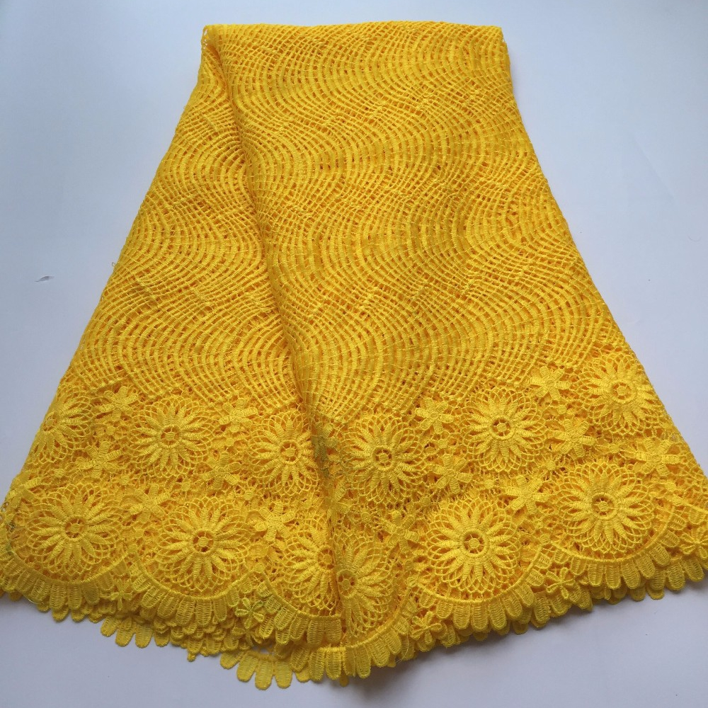 100% polyester et coton matériaux cordon africain lacets/guipure suisse dentelle tissu jaune nigérian robes de mariée S9 9021-in Dentelle from Maison & Animalerie    1
