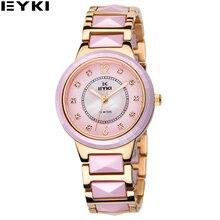 EYKI Черное Золото Керамические Женщин Часы 30 М Водонепроницаемые Reloj Mujer Marcas Famosas Luxury Женские Часы EMOS8635