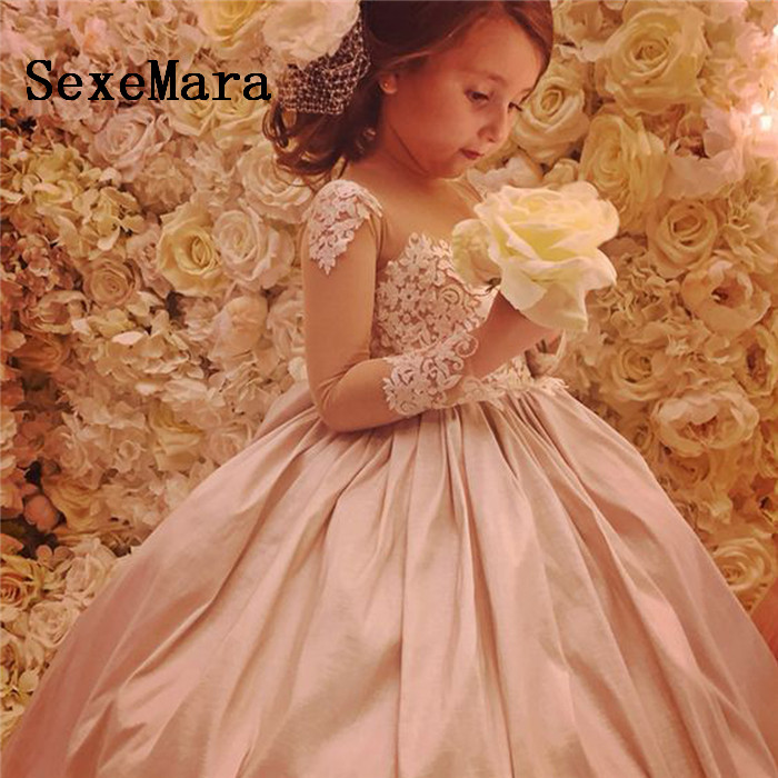 Ball Gown Flower Girl Dresses Pink Ruched Lace Little Princess Long Sleeves First Communion Dress Pageant Gowns Vestidos Longo pink lace up design cold shoulder long sleeves hoodie dress