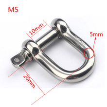 500 Pcs M5 D Shackle Hook 304 Stainless Steel D Rigging Shackle Buckles Marine Boat Hardware