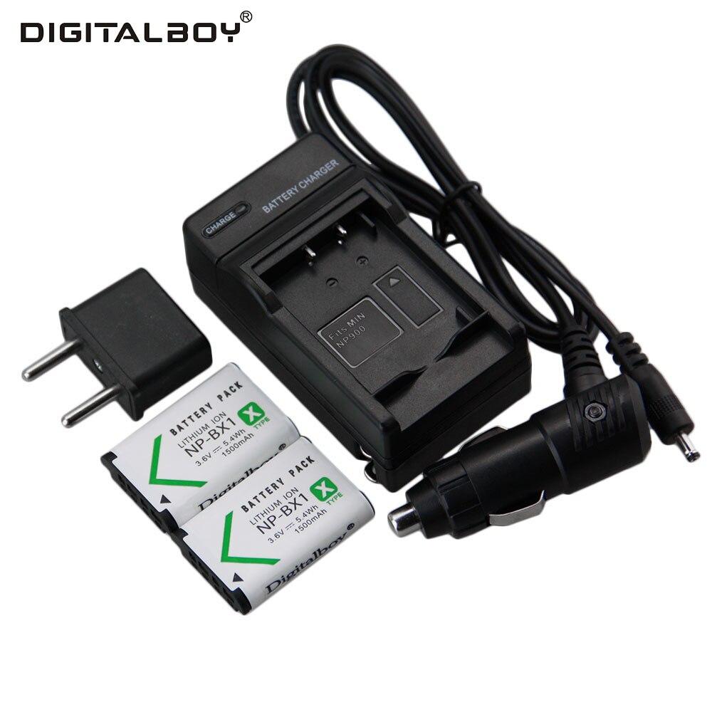 Caliente 2 unids NP-BX1 NP BX1 NPBX1 1500 mAh recargable de la Cámara li-ion + cargador de coche + cargador para Sony DSC-RX100 RX100 HDR-AS15