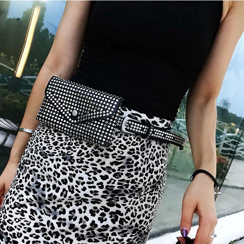 Fashion Rivets Waist Pack Luxury Designer Fanny Pack Small Women Waist Bag Phone Pouch Punk Belt Bag Purse(Black)