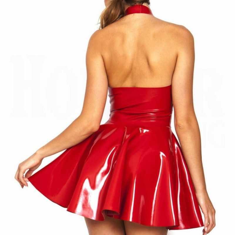 2019 Novas Mulheres Sexy Clube Show de Couro PVC Faux Robe Halter V Neck Backless Bodycon Bainha Plissada Micromini Fetiche Erótico vestido