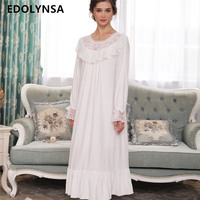 Autumn Winter Sleepwear Women Nightgowns Long Sleeve Nightdress Plus Size Slash White Lace Flare Sleeve Cotton Robe Dress H716