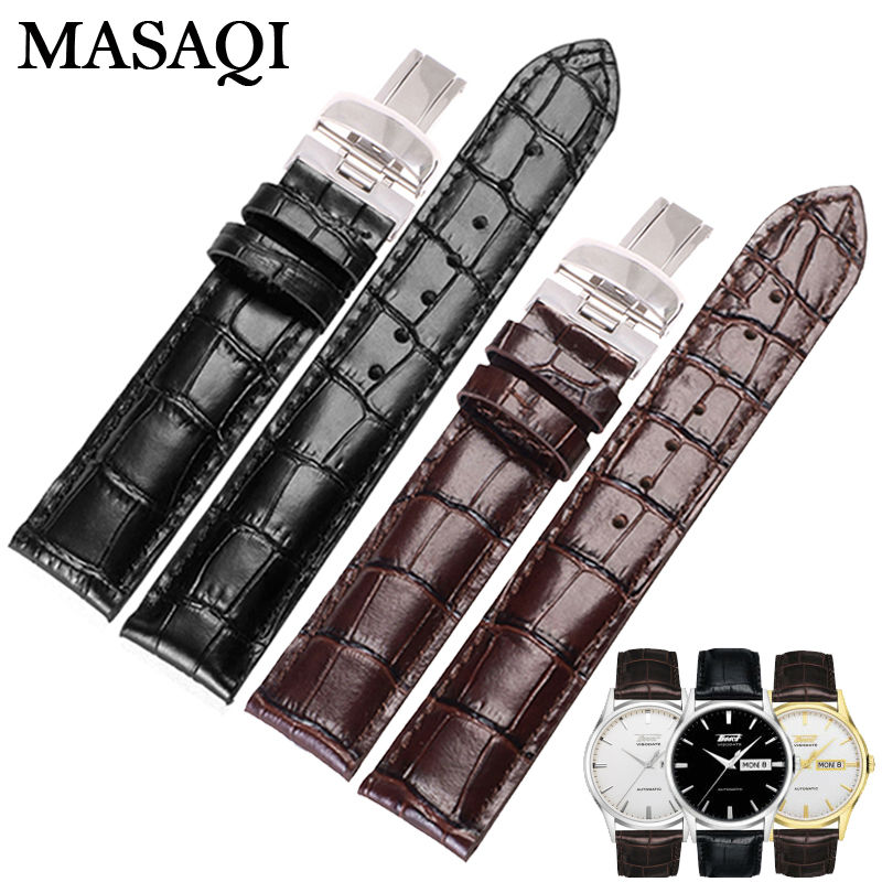 MASAQI Genuine Leather Strap Watch Man's Band Watches For Tissot 1853 T019.430 19mm Good quality Accessories Watchbands genuine leather watchbands for tissot mido lv dior for 1853 t050 waterproof men women buckle strap watch strap fits all brand