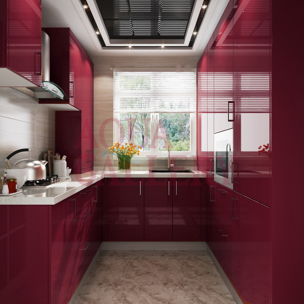 High Gloss Kitchen Cabinets: 2016 Newly Design Elegant Red U Shape High Gloss European