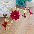 Gorgeous crystal beads hairband women crown novia bride red flower tiara  fascinator wedding hair accessories fangfei