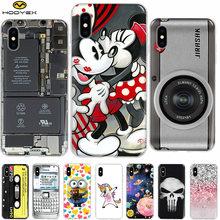 f807a54e695 De moda para iPhone X XS X Max 7 8 Plus caso Mickey Minnie Mouse Coque suave  de TPU teléfono móvil casos iPhone 7 5 5S 6 6 S XR .