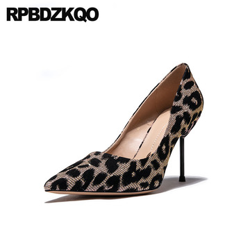 women 2019 pumps luxury glitter shoes size 4 34 slip on scarpin stiletto pointed toe leopard print high heels gold 8cm ladies