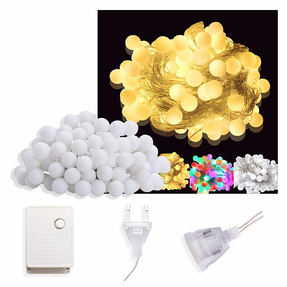 10m 100 LED Fairy Lights Christmas Light Outdoor/Indoor Garland Ball LED Light String 220V EU Plug Wedding/Party Home Decoration