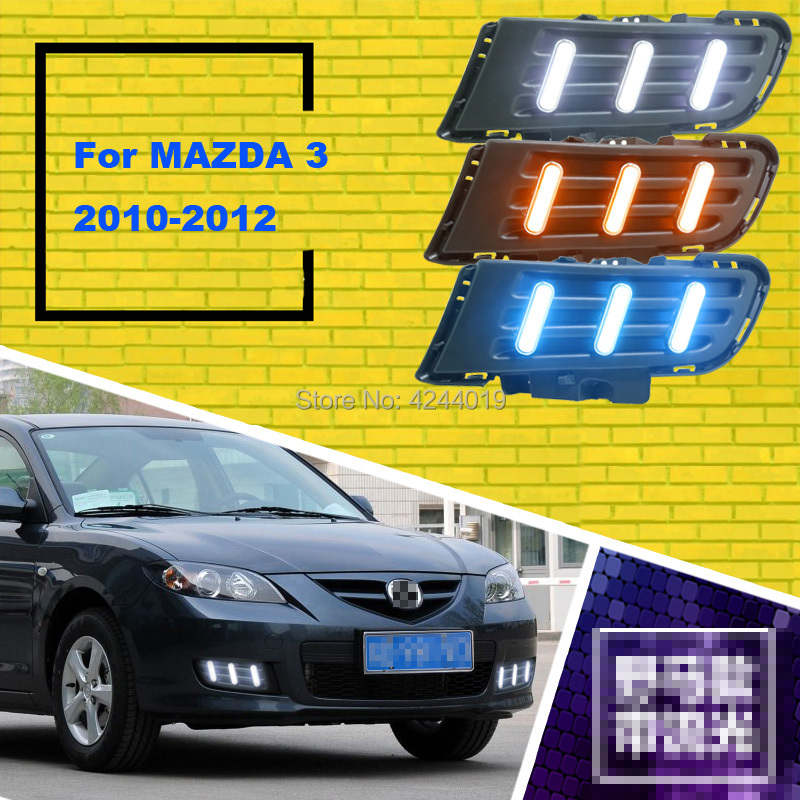 цена на Fits 2010-2012 Mazda 3 Day Light Fog Lights Fog Lamps LED Driving Light DRL Daytime Running Lights Yellow Turn Signal