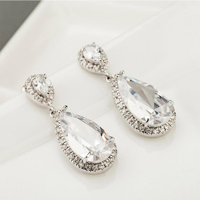 LUOTEEMI Elegantă formă de lacrimă alb CZ Stone Fashion Waterdrop - Bijuterii de moda - Fotografie 6